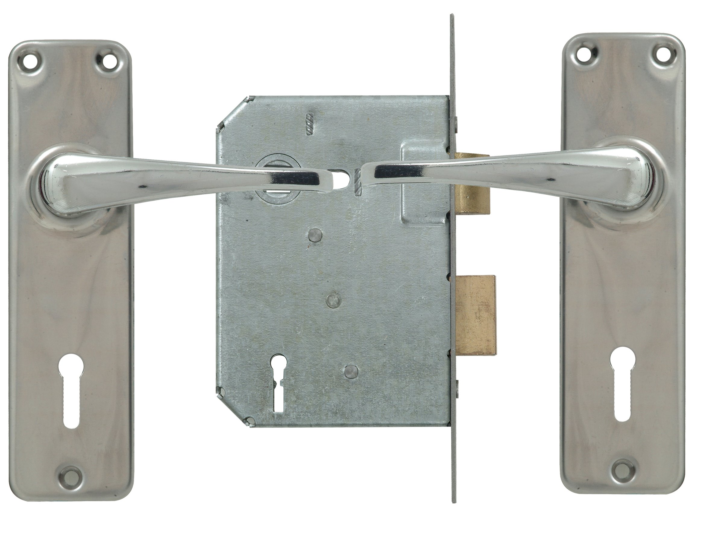 4 Lever Lockset - Chrome with Galvinised Lock