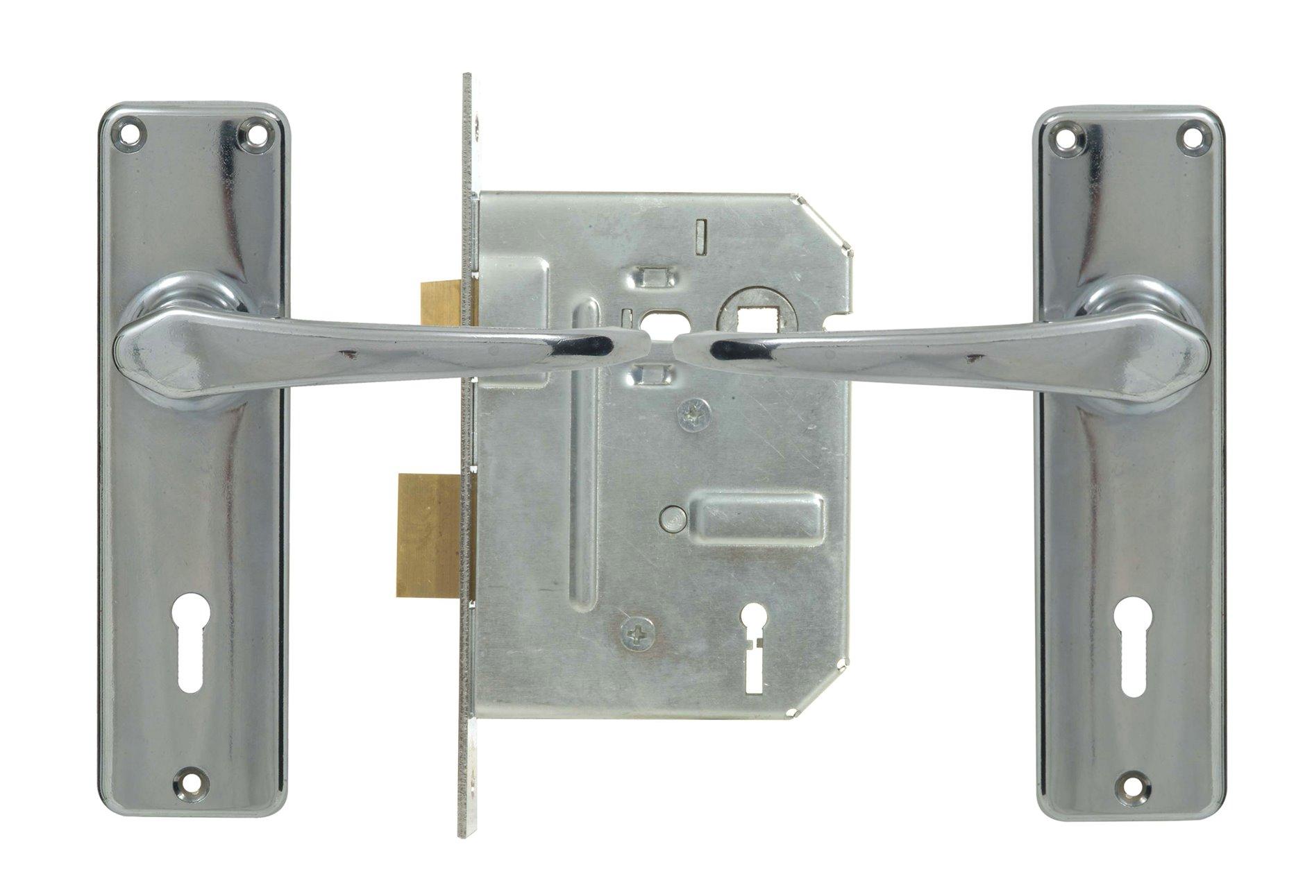 2 Lever Econo Lockset - Chrome with Galvinised Lock
