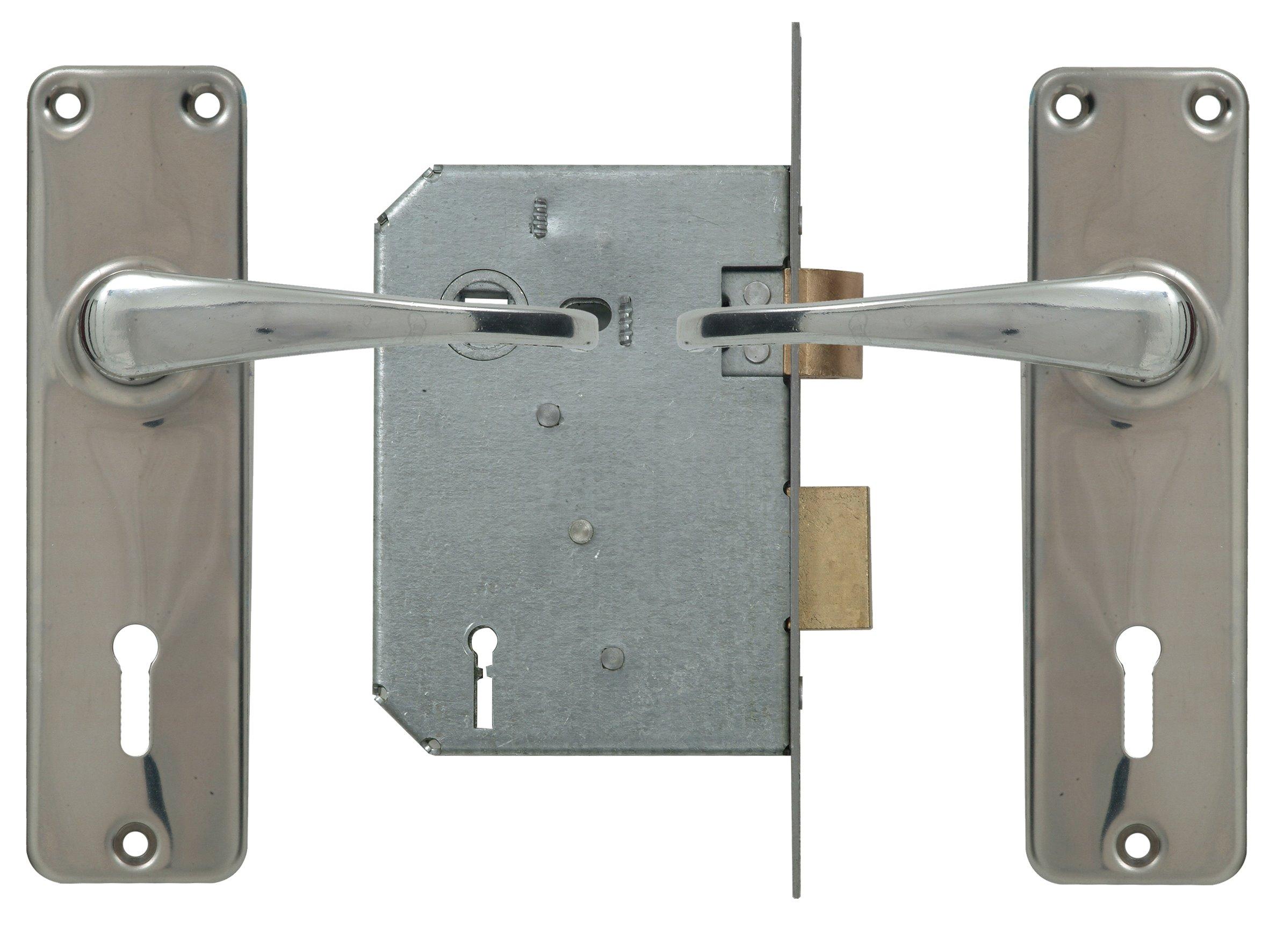 2 Lever Lockset - Chrome with Galvinised Lock