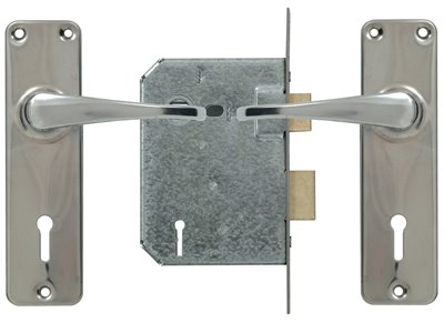 3 Lever Lockset - Chrome with Galvinised Lock