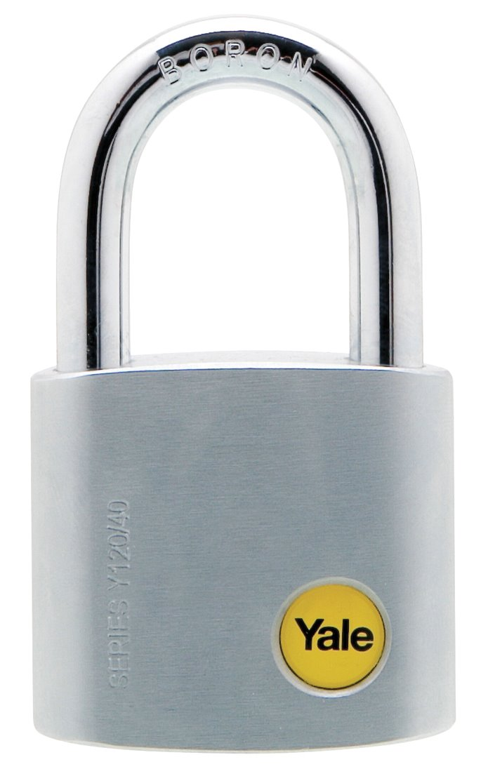 Y120/40/125 - Yale Silver Series Outdoor Brass / Satin Padlock (Boron Shackle) 40mm