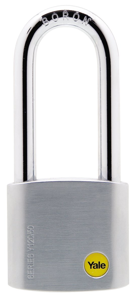 Y120/50/163 - Yale Silver Series Outdoor Brass / Satin Long Shackle Padlock (Boron Shackle)