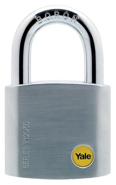 Y120/50/127 - Yale Silver Series Outdoor Brass / Satin Padlock (Boron Shackle) 50mm with Multi-pack