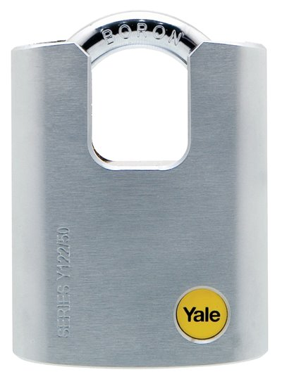 Y122/50/123 - Yale Silver Series Outdoor Brass / Satin Closed Shackle Padlock (Boron Shackle)