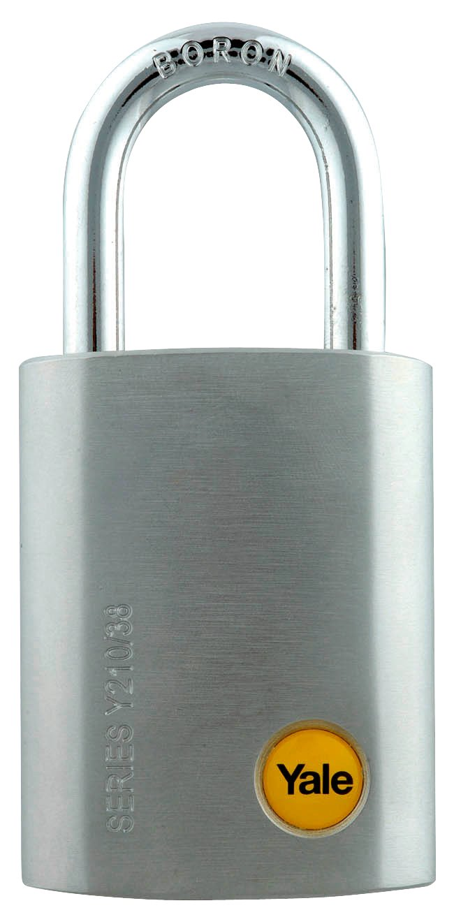 Y210/38/127 - Yale Silver Series Outdoor Satin Steel Padlock (Boron Shackle) 38mm with Multi-pack