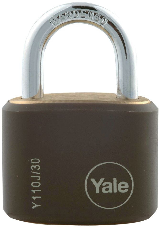 Y110J/30/117/4 - Yale Classic Series Outdoor Black Cover Brass Padlock 34mm with Multi-pack