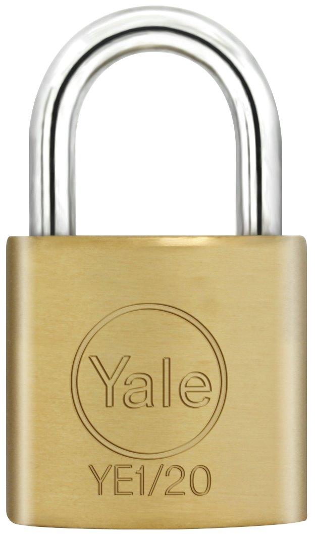 YE1/20 - Yale Essential Series Indoor Brass Standard Shackle Padlock 20mm