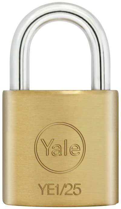 YE1/25 - Yale Essential Series Indoor Brass Standard Shackle Padlock 25mm