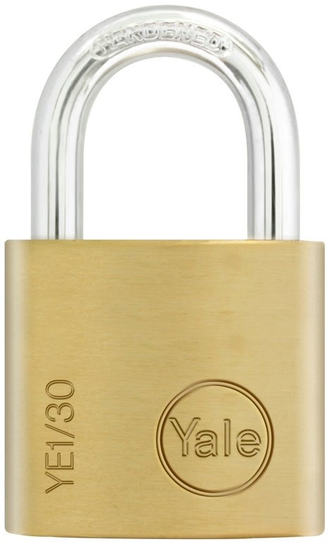 YE1/30 - Yale Essential Series Indoor Brass Standard/Long/Extra Long Shackle Padlock 30mm