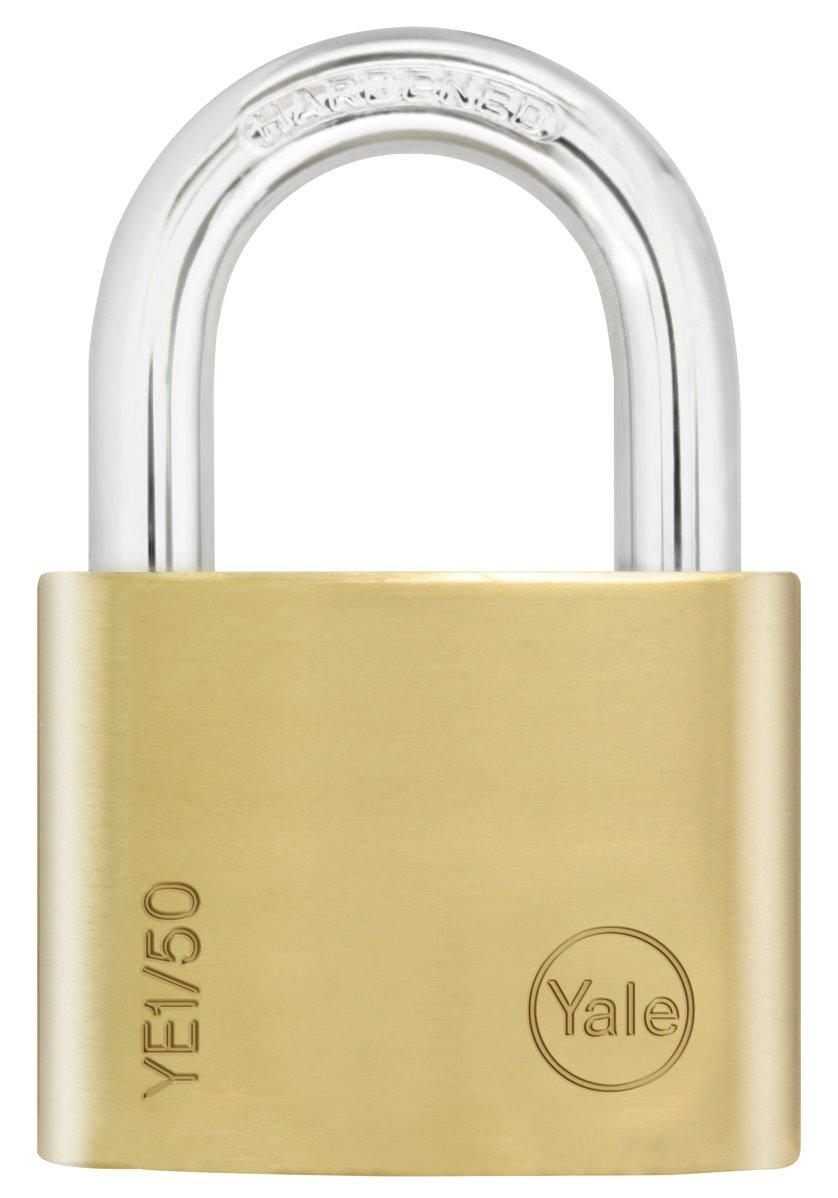 YE1/50 - Yale Essential Series Indoor Brass Standard/Long Shackle Padlock 50mm