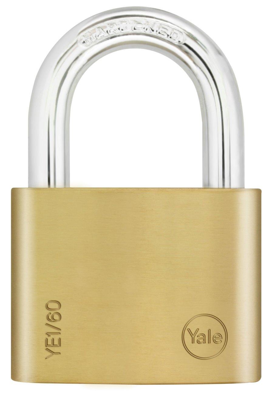 YE1/60 - Yale Essential Series Indoor Brass Standard Shackle Padlock 60mm