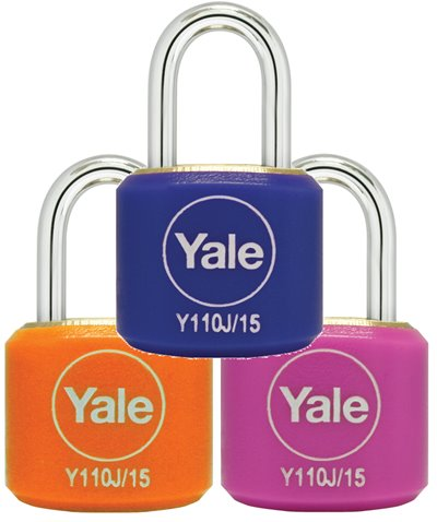Y110J/15/111/2 - Yale Classic Series Indoor Color Brass Padlock 15mm with Multi-pack (Pink/Blue/Orange)