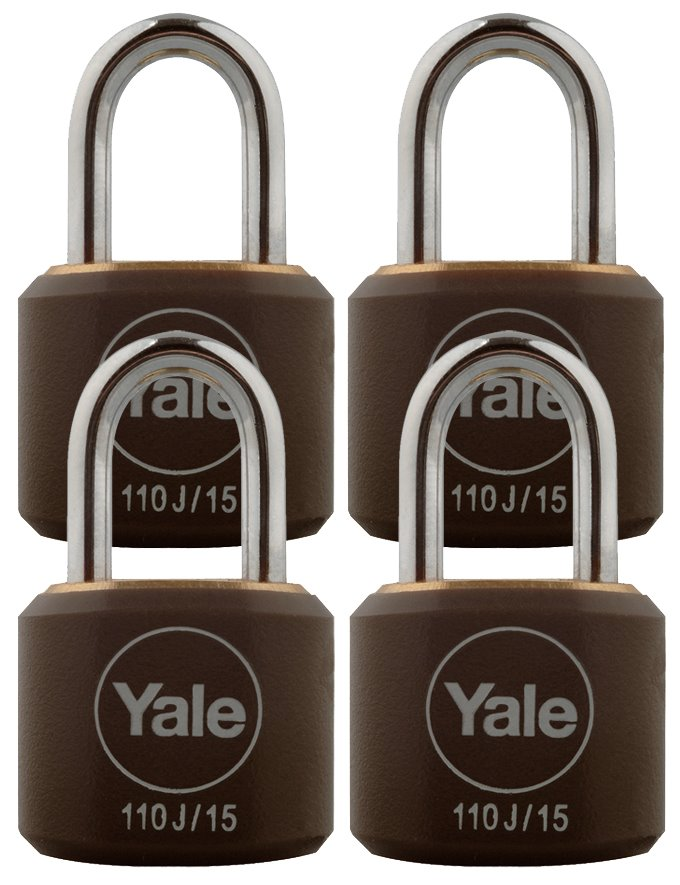 Y110J/15/111/4 - Yale Classic Series Indoor Black Cover Brass Padlock 15mm with Multi-pack