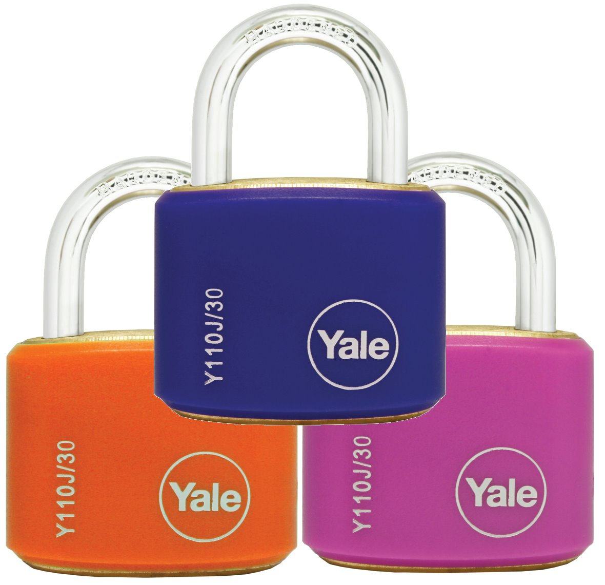Y110J/30/117/2 - Yale Classic Series Outdoor Color Brass Padlock 34mm with Multi-pack (Pink/Blue/Orange)