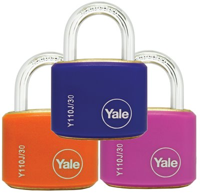 Y110J/30/117/2 - Yale Classic Series Outdoor Color Brass Padlock 34mm with Multi-pack (Pink/Blue/Orange) {tbt}