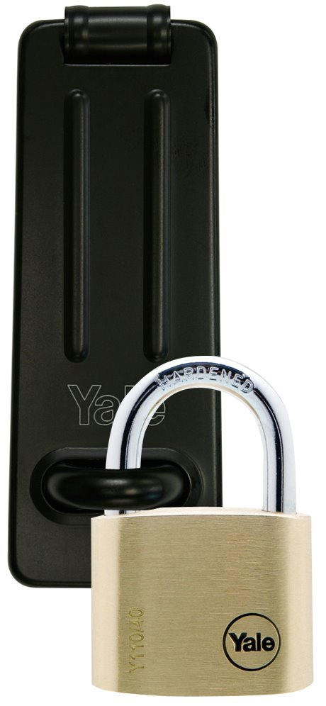 Y110/40/123/1/HSP - Yale Steel Padlock Hasp (Y135/120/BK) with 40mm Solid Brass Padlock