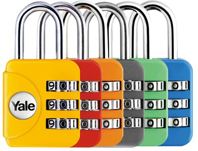 YP1/28/121 - Yale Colored Luggage 3-digit Cominbation Lock (Red/Grey/Yellow/Pink/blue/Orange/Emerald) 28mm