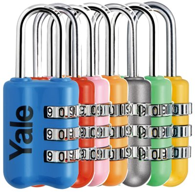 YP2/23/128 - Yale Colored Luggage 3-digit Cominbation Lock (Red/Grey/Yellow/Pink/blue/Orange/Emerald) 23mm