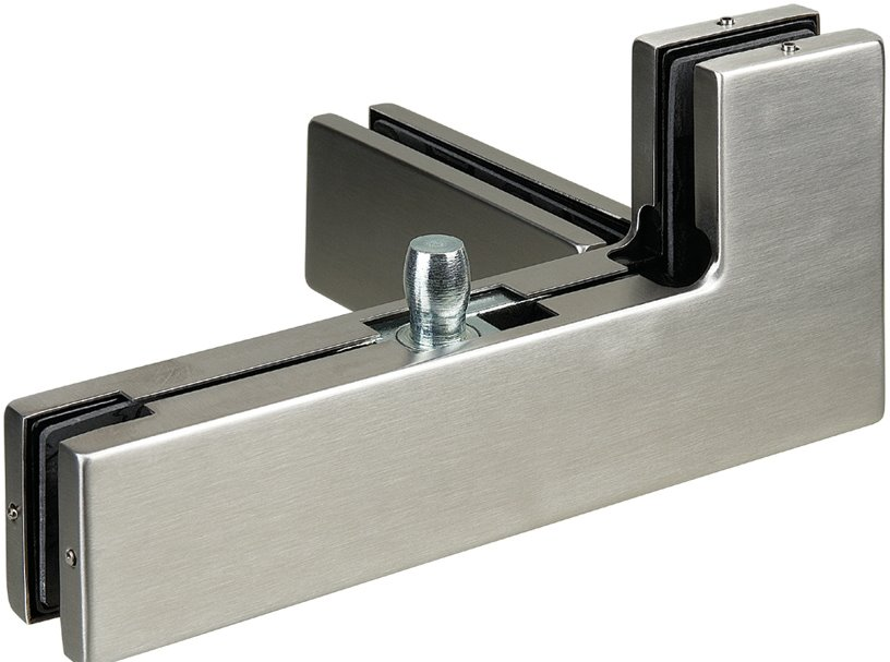P041L/R - Glass Door Patch Fitting for over panels, side panel with fin fitting Left / Right