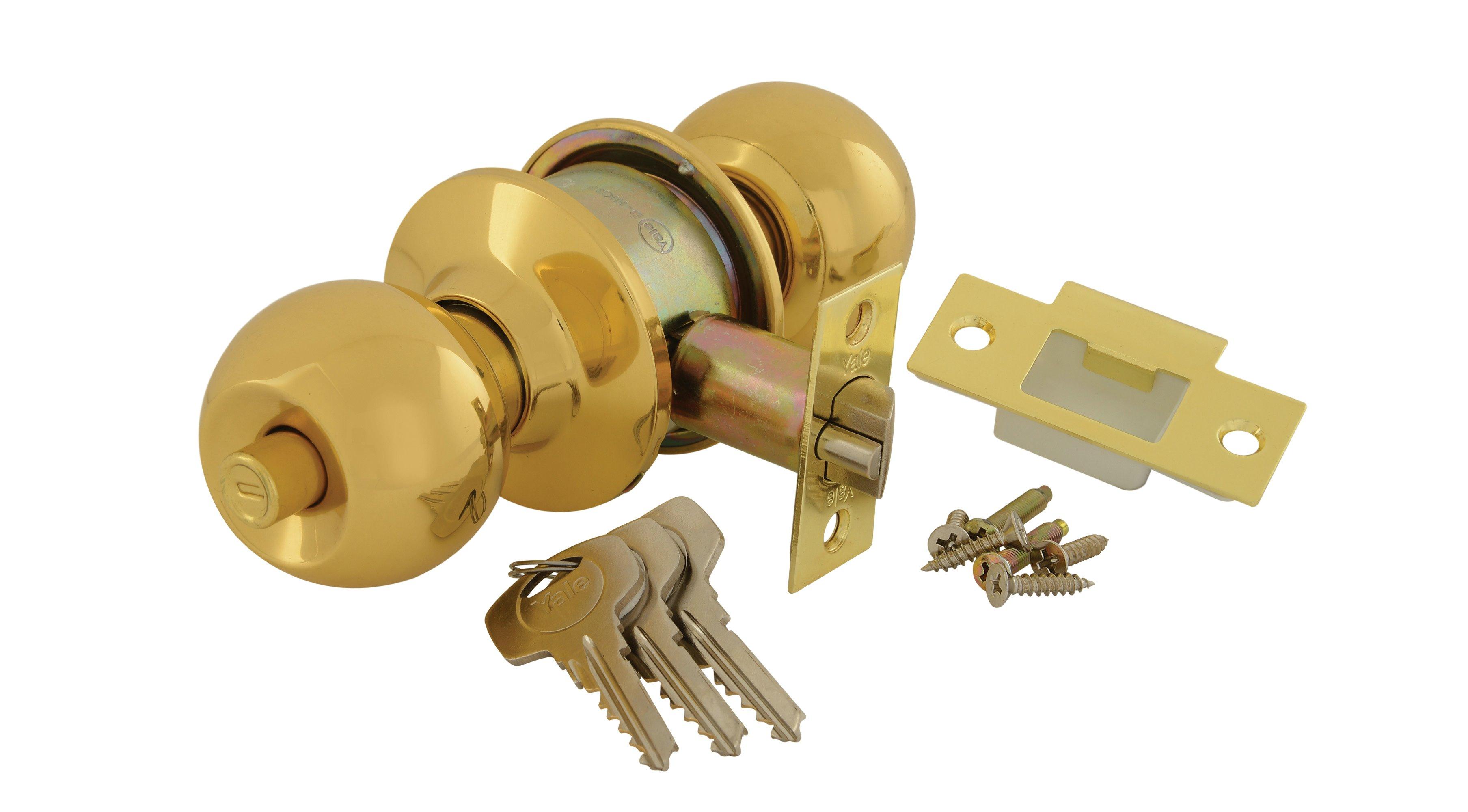 Round Cylindrical Knobset - Polished Brass