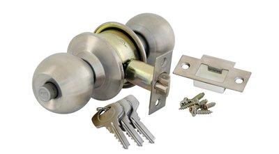 Round Cylindrical Knobset - Satin Silver
