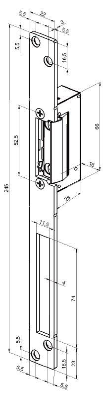 Electromagneti de toc pentru profil ingust, latime 16mm